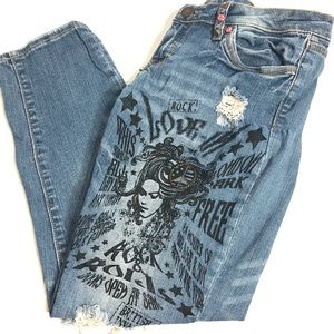 Vintage Jeans Distressed Graphic Peace Rock Pepe